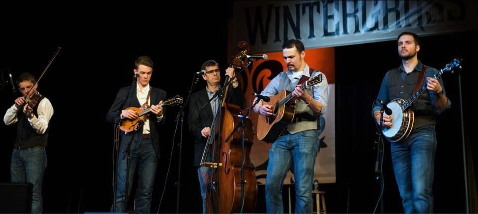 North Country at the Wintergrass Bluegrass festival in 2017 in Bellevue, WA. Left to right: Michael Kilby, Zach Top, Kent Powell, Norm Olsen, and Will. Photo by Eric Frommer.