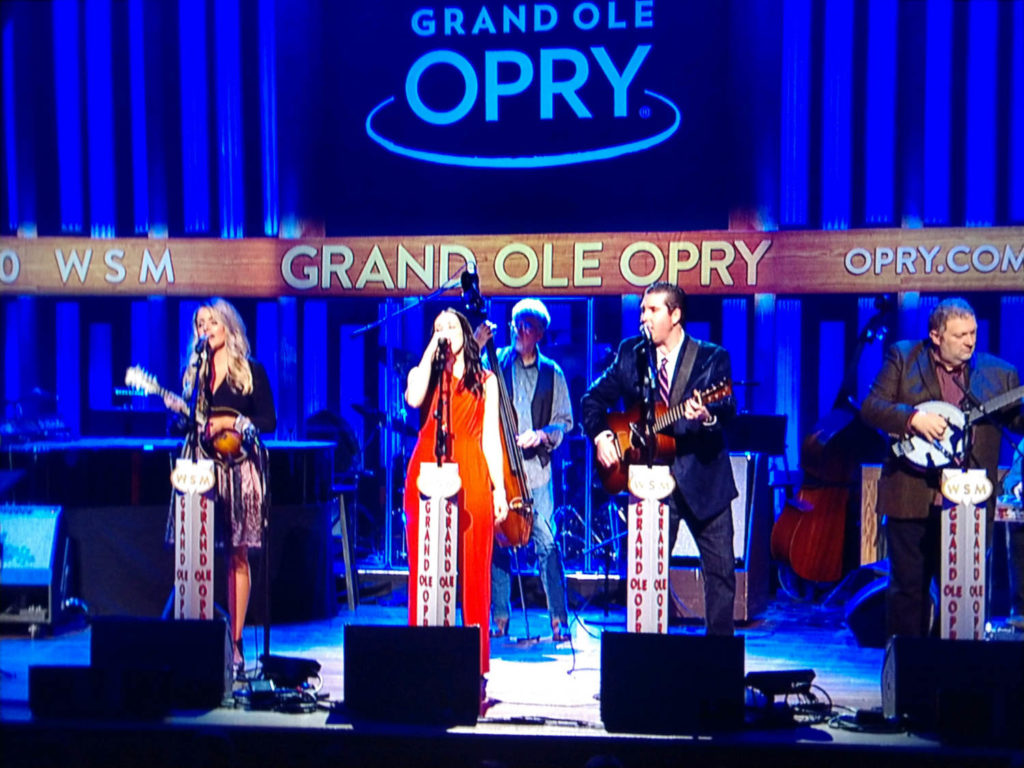 Kristen on stage with Darin and Brooke Aldridge at The Grand Ole Opry. Photo by Tony Stephens.
