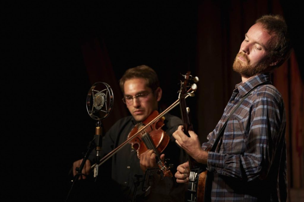 Magnus performing with Meade Richter (fiddle) and Haley's Comet at the Geiteberg Folk Festival in 2017. Photo by Thor Hauknes.