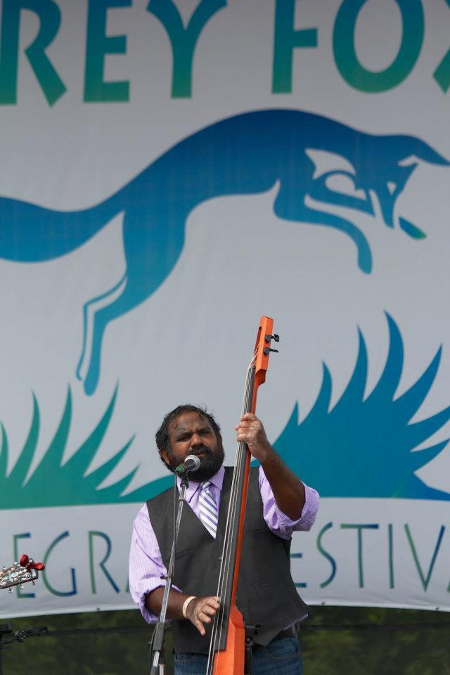 Sav performing with the Dixie Bee-Liners at the 2012 Grey Fox Bluegrass Festival in Oak Hill, NY.